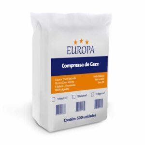 Compressa de Gaze 7,5 x 7,5 (EUROPA) - Pacote com 500 Unidades