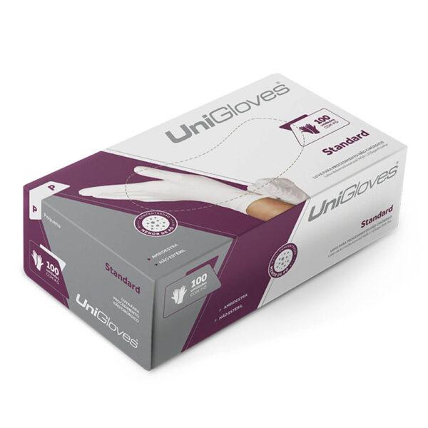 Luva de Látex Standard (UNIGLOVES) - Caixa com 100 Unidades